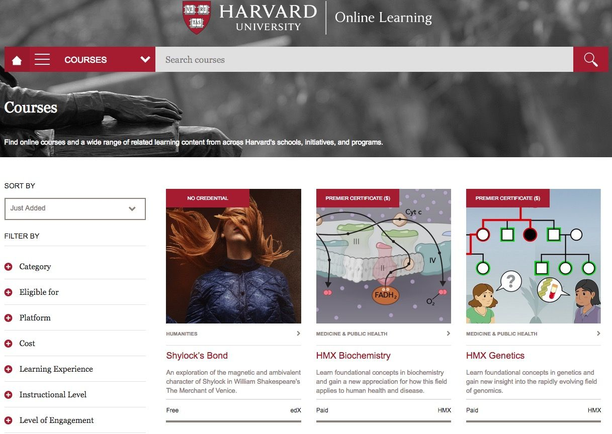 On-line education from leading universities  Sites overview