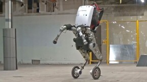 Handle from Boston Dynamics: robot with wheels and a suction arm