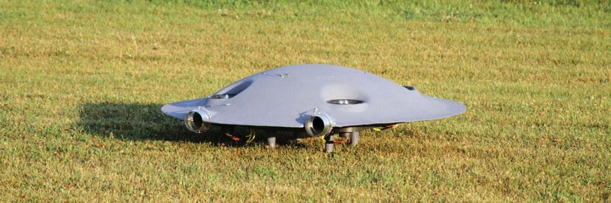A full-sized flying saucer prototype created in Romania