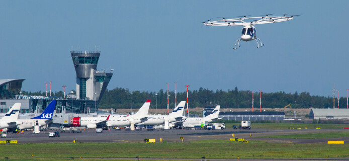 Volocopter 2X air taxi makes test flight in Helsinki Airport
