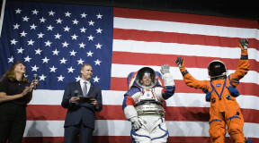 NASA unveils new spacesuits for missions to the Moon and to Mars